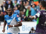 Hoffenheim's French forward Anthony Modeste celebrates scoring during the German first division Bundesliga football match 1899 Hoffenheim vs VfLWolfsburg in Sinsheim, southwestern Germany on September 13, 2014