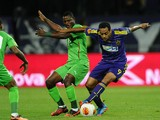 Maribor's Marcos Tavares vies for the ball with Rubin Kazan's Wakaso Mubarak during the UEFA Europa league football match NK Maribor vs FC Rubin Kazan, in Maribor, on September 19, 2013