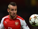 Arsenal's French defender Mathieu Debuchy controls the ball during the UEFA Champions League qualifying round play-off second-leg football match between Arse