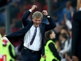 England manager Roy Hodgson celebrates during the Euro 2016 qualifying group match against Switzerland in Basel on September 8, 2014