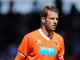 Andrea Orlandi of Blackpool in action during the Pre Season Friendly match between Blackpool and Burnley at Bloomfield Road on August 2, 2014