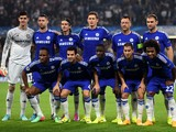 The Chelsea team pose for the cameras prior to kickoff the UEFA Champions League Group G match between Chelsea and FC Schalke 04 on September 17, 2014