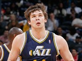 Kyrylo Fesenko #44 of the Utah Jazz against the Atlanta Hawks at Philips Arena on November 12, 2010