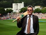 Martin Crowe looks out into the crowd during the 'One Year To Go' to the ICC Cricket World Cup announcement at the Basin Reserve on February 15, 2014
