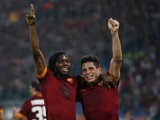 Gervinho with his teammate Juan Manuel Iturbe of AS Roma celebrates after scoring the second team's goal during the UEFA Champions League Group E match between AS Roma and PFC CSKA Moskva on September 17, 2014