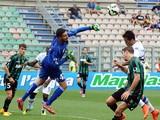 Andrea Consigli goalkeeperof US Sassuolo Calcio sves his goal during the Serie A match between US Sassuolo Calcio and UC Sampdoria on September 21, 2014