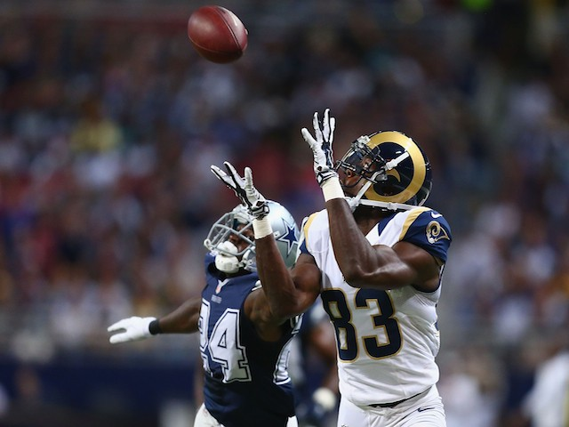 Brian Quick #83 of the St. Louis Rams catches a touchdown pass against Morris Claiborne #24 of the Dallas Cowboys on September 21, 2014