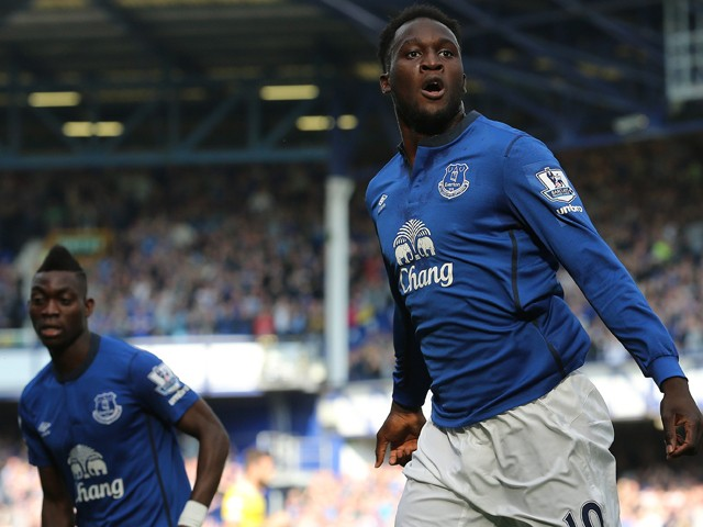 Everton's Belgian striker Romelu Lukaku celebrates scoring the opening goal of the English Premier League football match between Everton and Crystal Palace at Goodison Park in Liverpool on September 21, 2014