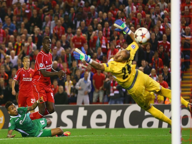 Mario Balotelli of Liverpool scores the opening goal past Milan Borjan of PFC Ludogorets Razgrad during the UEFA Champions League Group B match on September 16, 2014
