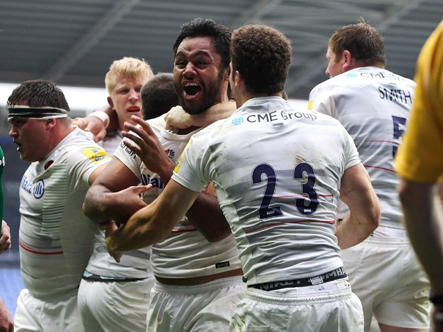 Billy Vunipola of Saracans celebrates after his team score a late try to win the game during the Aviva Premiership match between London Irish and Saracens at Madejski Stadium on September 20, 2014