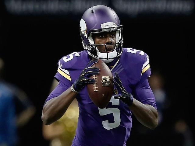 Teddy Bridgewater #5 of the Minnesota Vikings looks to pass against the New Orleans Saints on September 21, 2014
