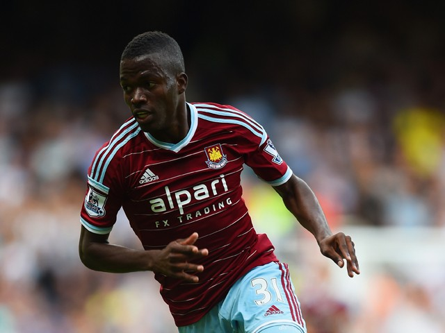 Enner Valencia of West Ham United in action during the Barclays Premier League match between West Ham United and Tottenham Hotspur at Boleyn Ground on August 16, 2014