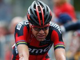 Cadel Evans of Australia and BMC Racing Team looks exhausted as he crosses the finish line during the eighteenth stage of the 2014 Giro d'Italia, a 171km high mountain on May 29, 2014