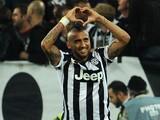 Arturo Vidal of Juventus FC celebrates the goal of 1-0 during the Serie A match between Juventus FC and AC Cesena at Juventus Arena on September 24, 2014
