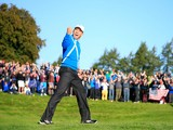 Sergio Garcia of Europe celebrates after he chipped in from a bunker on the 4th hole during the Morning Fourballs of the 2014 Ryder Cup on the PGA Centenary course at Gleneagles on September 26, 2014
