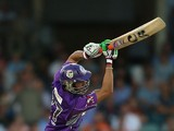 Shoaib Malik of the Hurricanes bats during the Big Bash League match between the Perth Scorchers and the Hobart Hurricanes at WACA on January 7, 2014