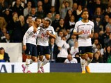 Roberto Soldado of Tottenham Hotspur is congratulated by Andros Townsend of Tottenham Hotspur after he made it 2-1 during the Capital One Cup third round match between Tottenham Hotspur and Nottingham Forest at White Hart Lane on September 24, 2014