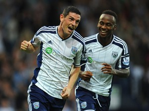 WBA goalscorer Graham Dorrans celebrates his goal with Saido Berahino during the Barclays Premier League match between West Bromwich Albion and Burnley at The Hawthorns on September 28, 2014