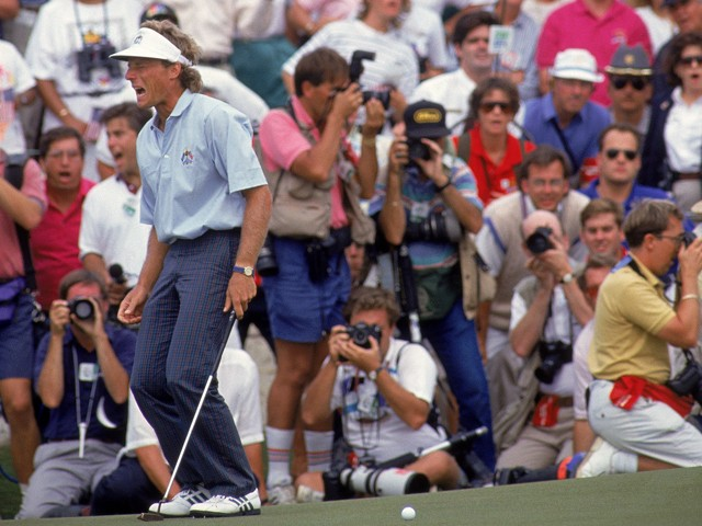 Agony for Bernhard Langer of the European team as he misses a putt to win his Final Day Singles match in the Ryder Cup on September 29, 1991