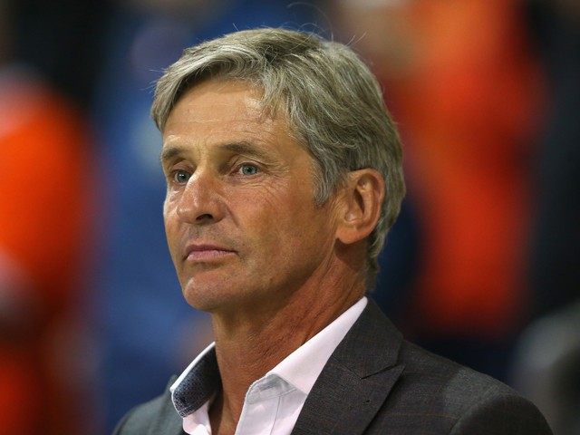 Jose Riga the manager of Blackpool looks on during the Sky Bet Championship match between Blackpool and Watford at Bloomfield Road on September 16, 2014