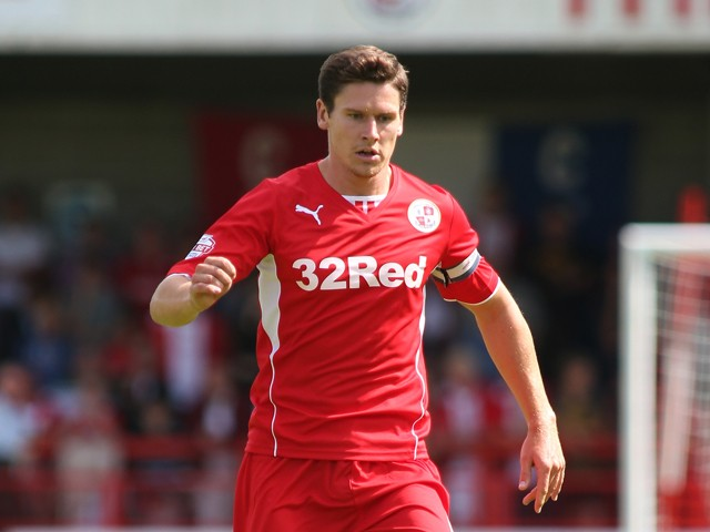 Captain of Crawley Town Josh Simpson in action during the Sky Bet League One match between Crawley Town FC and Coventry at Broadfield Stadium on August 03, 2013
