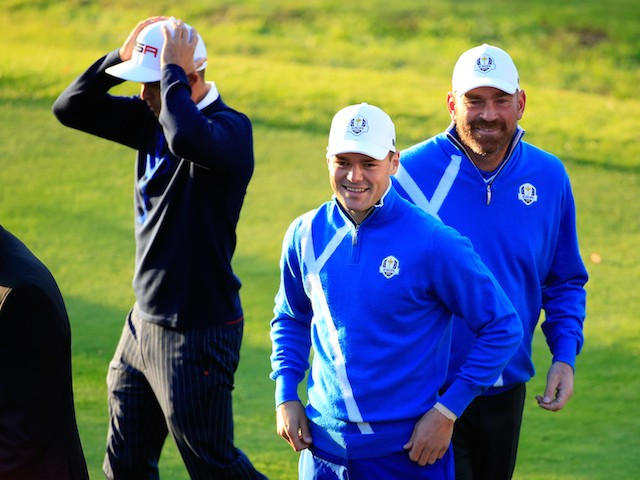 Martin Kaymer and Thomas Bjorn of Europe walk onto the 1st during the Morning Fourballs of the 2014 Ryder Cup on the PGA Centenary course at Gleneagles on September 26, 2014