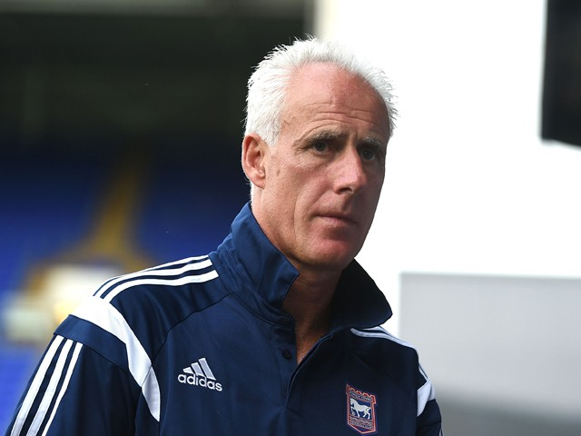 Manager of Ipswich Town Mick McCarthy looks on during the pre-season friendly match between Ipswich Town and West Ham United at Portman Road on July 16, 2014