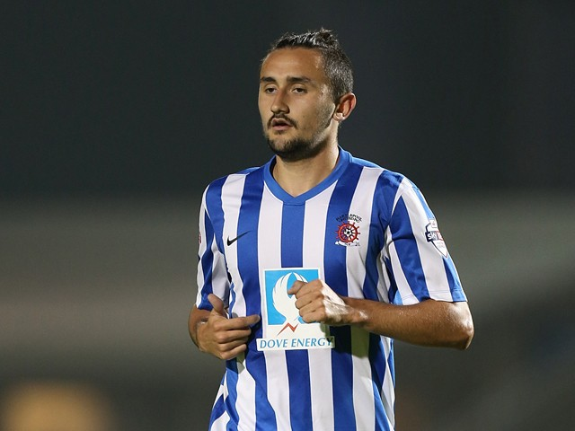Ryan Brobbel of Hartlepool United in action during the Sky Bet League Two match between Northampton Town and Hartlepool United at Sixfields Stadium on September 16, 2014