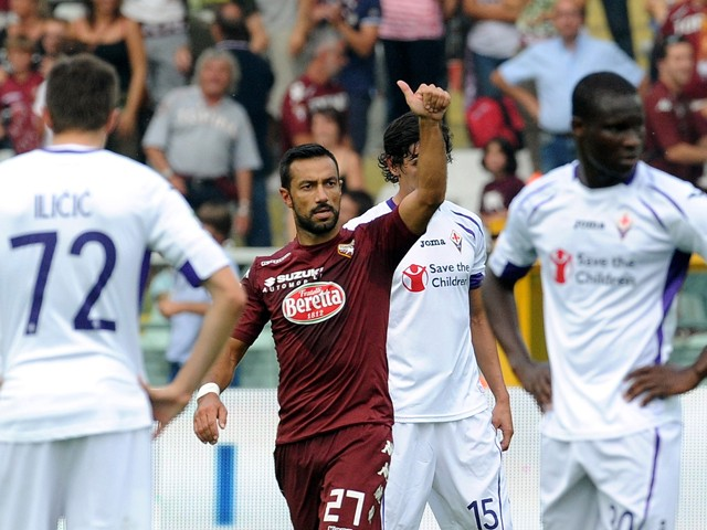 Fabio Quagliarella of Torino FC celebrates after scoring a goal to make it 1-0 during the Serie A match between Torino FC and ACF Fiorentina at Stadio Olimpico di Torino on September 28, 2014