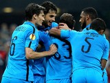 Danilo D'Ambrosio of FC Internazionale Milano celebrates with his team-mates after scoring the opening goal during the UEFA Europa League group F match between FC Internazionale Milano and Qarabag FK on October 2, 2014