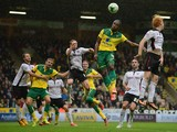 Cameron Jerome of Norwich heads the ball during the Sky Bet Championship match between Nowrwich City and Rotherham United at Carrow Road on O