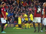 Daniel Tozser of Watford celebrates scoring during the Sky Bet Championship match between Watford and Brighton & Hove Albion at Vicarage Road on October 4, 2014