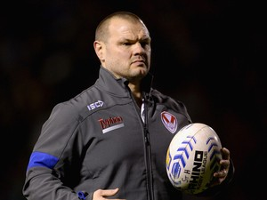 St Helens assistant coach Keiron Cunningham during the Super League match between Warrington Wolves and St Helens at The Halliwell Jones Stadium on February 13, 2014