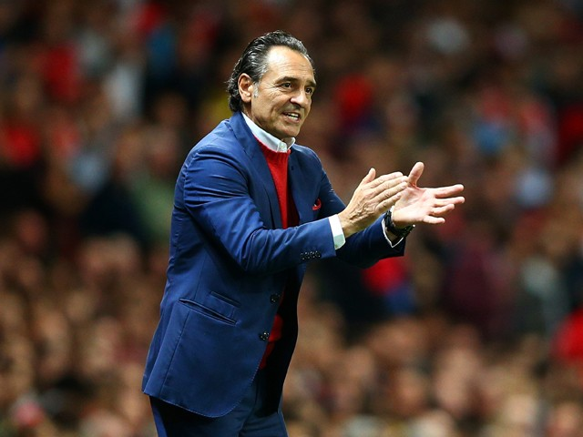 Cesare Prandelli, manager of Galatasaray AS reacts during the UEFA Champions League group D match between Arsenal FC and Galatasaray AS at Emirates Stadium on October 1, 2014