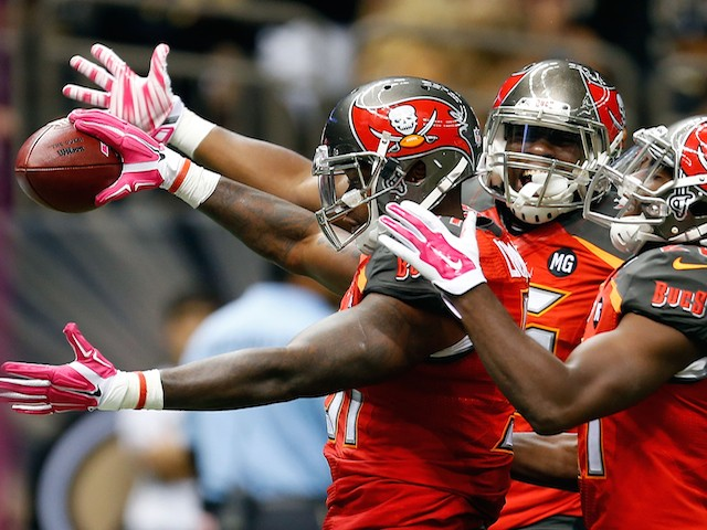Danny Lansanah #51 of the Tampa Bay Buccaneers celebrates a touchdown during the third quarter of a game against the New Orleans Saints on October 5, 2014