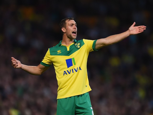 Steven Whittaker of Norwich in action during the Sky Bet Championship match between Norwich City and Blackburn Rovers at Carrow Road on August 19, 2014