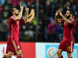 Spain's Paco Alcacer celebrates after scoring during the Group C Euro 2016 qualifying football match between Luxembourg and Spain at the Josy Barthel stadium in Luxembourg on October 12, 2014