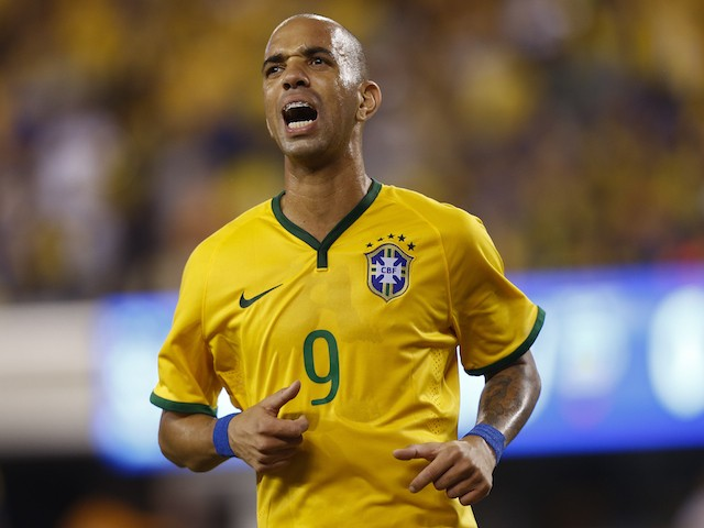 Diego Tardelli #9 of Brazil reacts during their match against Ecuador at MetLife Stadium on September 9, 2014