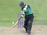 Daryl Mitchell of Worcestershire hits the ball for four runs during the Royal London One day Cup match between Leicestershire Foxes and Worcestershire at Grace Road on August 14, 2014