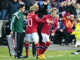 Norway´s youngest player ever, Martin Odegaard (9), replaces Mats Moeller Daehli during the Euro 2016 Group H qualifying football match Norway vs Bulgaria in Oslo, Norway on October 13, 2014
