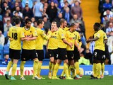 Almen Abdi of Watford is congratulated on scoring the second goal during the Sky Bet Championship match between Sheffield Wednesday and Watford at Hillsborough Stadium on October 18, 20