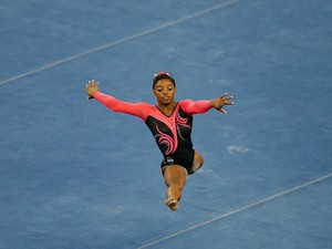 Simone Biles of United States performs on the floor during the Women's Floor Exercise Final on day six of the 45th Artistic Gymnastics World Championships at Guangxi Sports Center Stadium on October 12, 2014