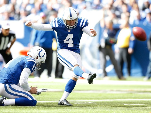Adam Vinatieri #4 of the Indianapolis Colts kicks a field goal to put the first points on the score board during the first quarter against the Cincinnati Bengals on October 19, 2014 at Lucas Oil Stadium on October 19, 2014
