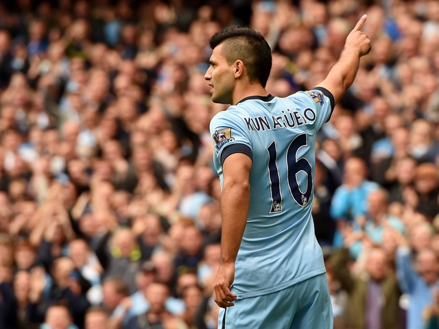 Sergio Aguero of Manchester City celebrates after scoring the opening goal during the Barclays Premier League match between Manchester City and Tottenham Hotspur at Etihad Stadium on October 18, 2014