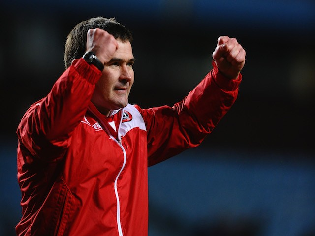 Nigel Clough of Sheffield United celebrates victory during the Budweiser FA Cup Third Round match between Aston Villa and Sheffield United at Villa Park on January 4, 2014