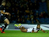 Darly Domvo of Bordeaux slides over to score a try during the European Rugby Challenge Cup match between London Welsh and Bordeaux Begles at the Kassam Stadium on October 23, 2014