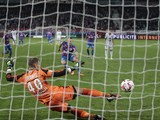 Caen's French forward Mathieu Duhamel scores a penalty in the nets of Lorient's goalkeeper Benjamin Lecomte during the French L1 football match between Caen (SMC) and Lorient (FCL) at the Michel d'Ornano stadium in Caen, northwestern France on October 25,