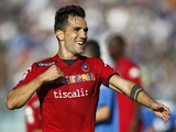 Marco Sau of Cagliari Calcio celebrates after scoring a goal during the Serie A match between Empoli FC and Cagliari Calcio at Stadio Carlo Castellani on October 25, 2014