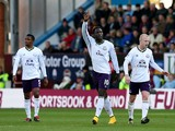 Romelu Lukaku of Everton celebrates with team-mates after scoring his team's second goal during the Premier League match between Burnley and Everton at Turf Moor on October 26, 2014