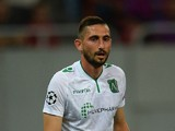 Hristo Zlatinski of PFC Ludogorets Razgrad in action during the UEFA Champions League first leg play-off match against between FC Steaua Bucuresti and PFC Ludogorets Razgrad on August 19, 2014